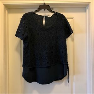 Nordstrom Pleione Navy Lace Blouse